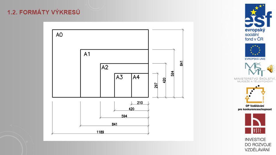 1.2. FORMÁTY VÝKRESŮ Výkresový list, tzv. originál, má velikost o 10 mm větší v obou směrech. Originál se používá k množení. Po rozmnožení se kopie v