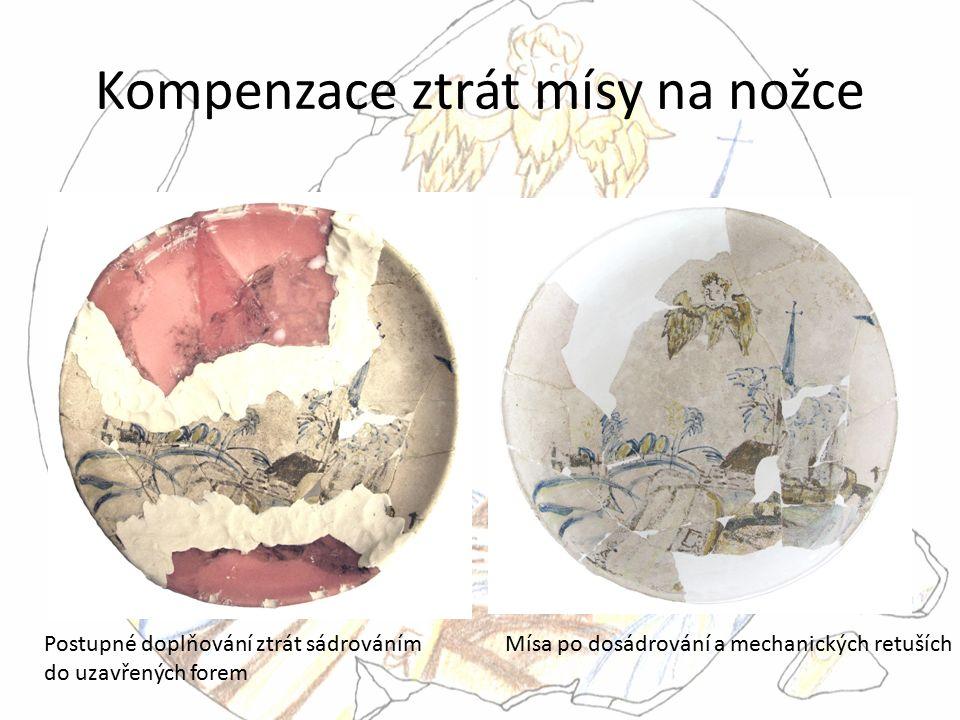 Kompenzace ztrát mísy na nožce Postupné doplňování ztrát sádrováním do uzavřených forem Mísa po dosádrování a mechanických retuších