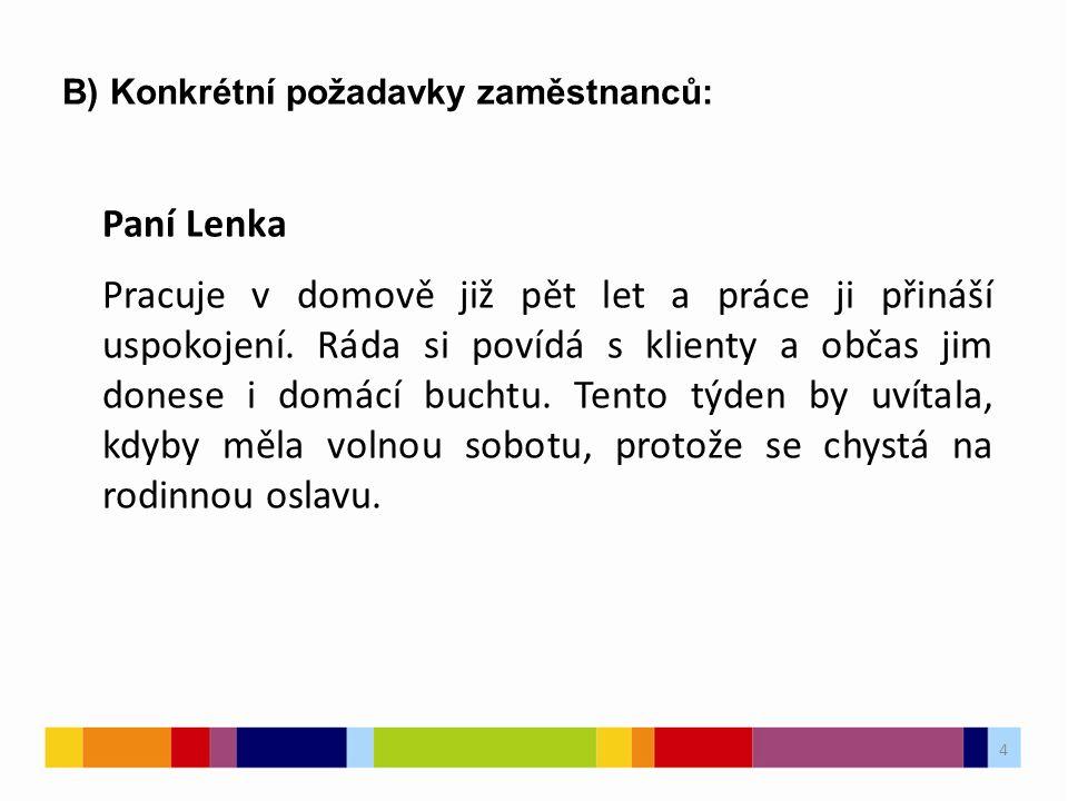 4 B) Konkrétní požadavky zaměstnanců: Paní Lenka Pracuje v domově již pět let a práce ji přináší uspokojení.
