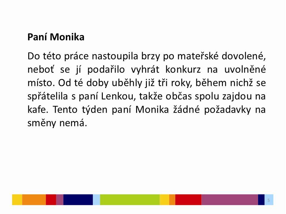 5 Paní Monika Do této práce nastoupila brzy po mateřské dovolené, neboť se jí podařilo vyhrát konkurz na uvolněné místo.