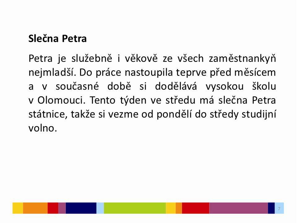 7 Slečna Petra Petra je služebně i věkově ze všech zaměstnankyň nejmladší.