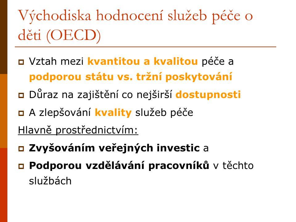 Východiska hodnocení služeb péče o děti (OECD)  Vztah mezi kvantitou a kvalitou péče a podporou státu vs.
