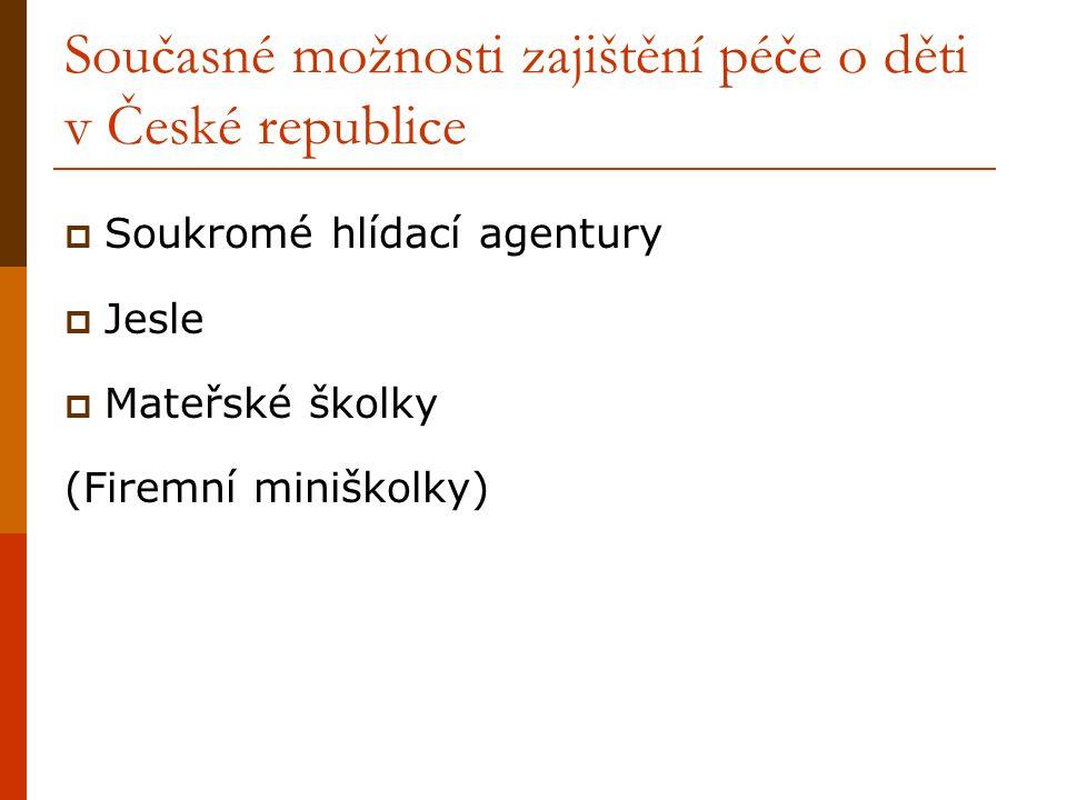 Současné možnosti zajištění péče o děti v České republice  Soukromé hlídací agentury  Jesle  Mateřské školky (Firemní miniškolky)