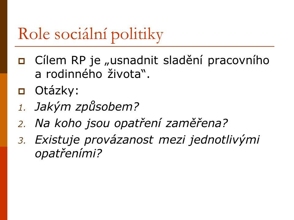"""Role sociální politiky  Cílem RP je """"usnadnit sladění pracovního a rodinného života ."""