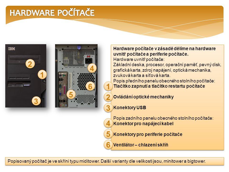 Hardware počítače v zásadě dělíme na hardware uvnitř počítače a periferie počítače.