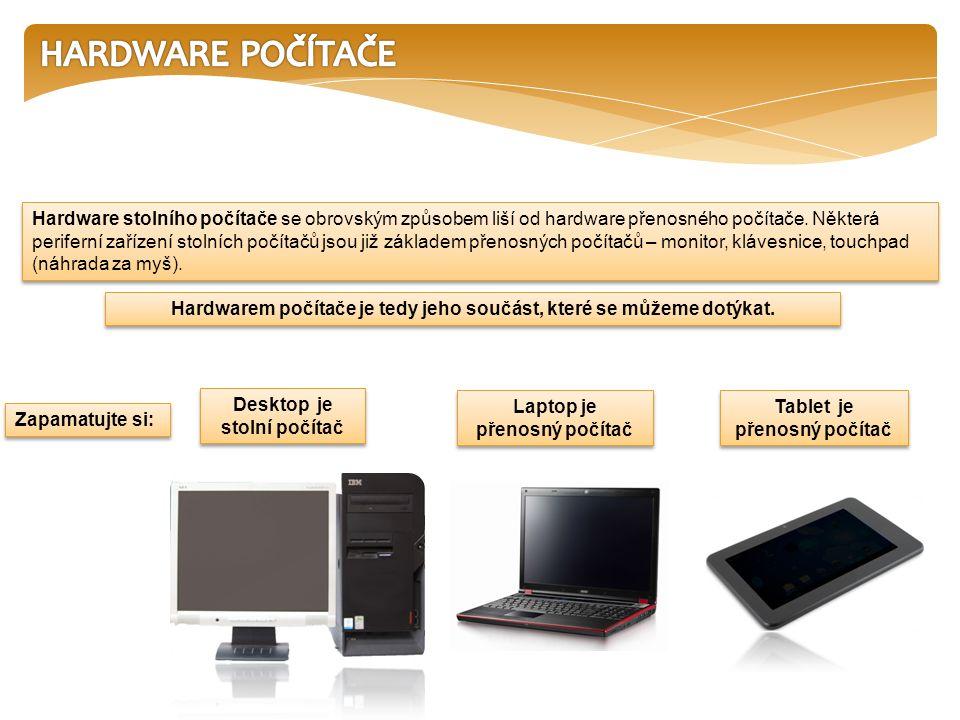 Hardware stolního počítače se obrovským způsobem liší od hardware přenosného počítače.