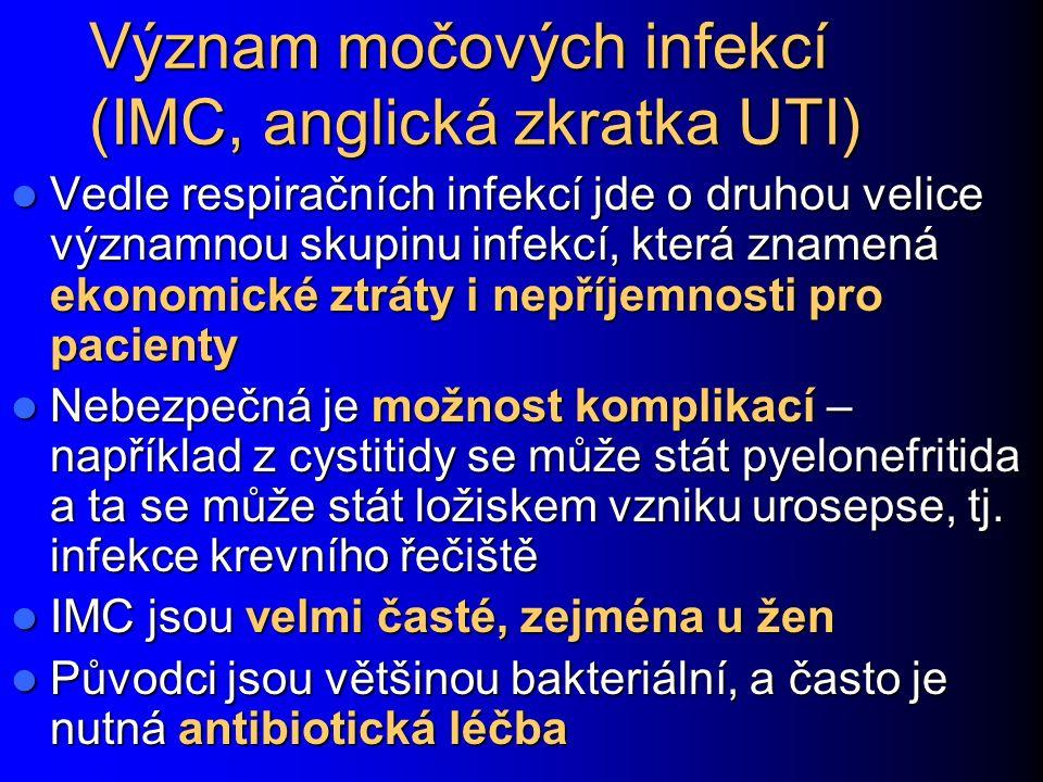 Význam močových infekcí (IMC, anglická zkratka UTI) Vedle respiračních infekcí jde o druhou velice významnou skupinu infekcí, která znamená ekonomické