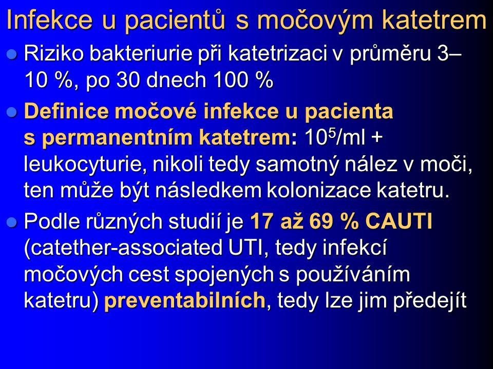 Infekce u pacientů s močovým katetrem Riziko bakteriurie při katetrizaci v průměru 3– 10 %, po 30 dnech 100 % Riziko bakteriurie při katetrizaci v prů