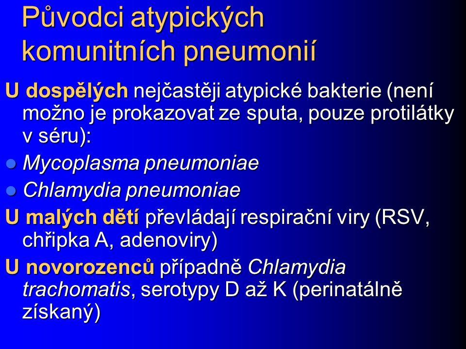 Původci atypických komunitních pneumonií U dospělých nejčastěji atypické bakterie (není možno je prokazovat ze sputa, pouze protilátky v séru): Mycopl