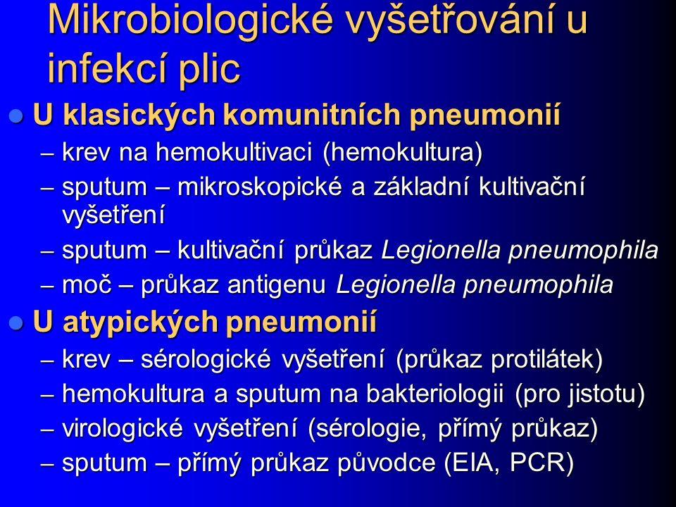 Mikrobiologické vyšetřování u infekcí plic U klasických komunitních pneumonií U klasických komunitních pneumonií – krev na hemokultivaci (hemokultura) – sputum – mikroskopické a základní kultivační vyšetření – sputum – kultivační průkaz Legionella pneumophila – moč – průkaz antigenu Legionella pneumophila U atypických pneumonií U atypických pneumonií – krev – sérologické vyšetření (průkaz protilátek) – hemokultura a sputum na bakteriologii (pro jistotu) – virologické vyšetření (sérologie, přímý průkaz) – sputum – přímý průkaz původce (EIA, PCR)