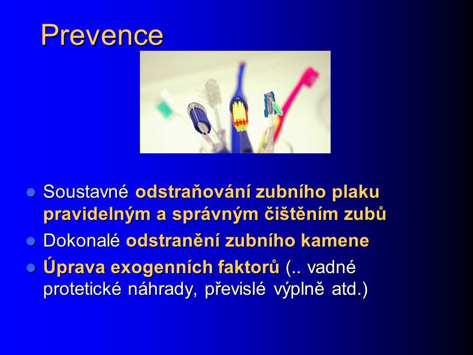 Prevence Soustavné odstraňování zubního plaku pravidelným a správným čištěním zubů Soustavné odstraňování zubního plaku pravidelným a správným čištění