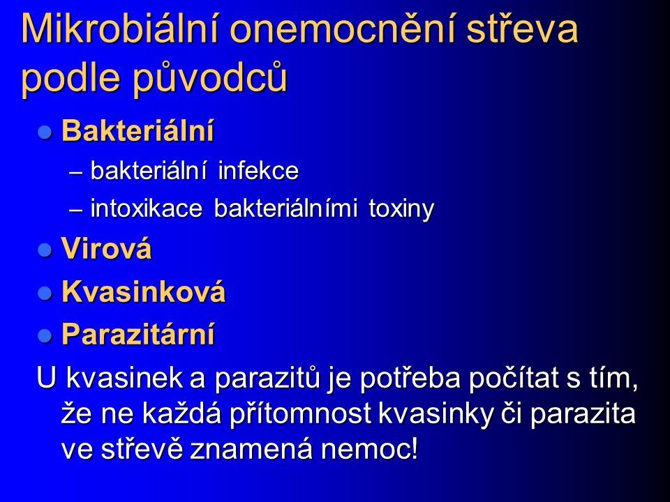 Mikrobiální onemocnění střeva podle původců Bakteriální Bakteriální – bakteriální infekce – intoxikace bakteriálními toxiny Virová Virová Kvasinková Kvasinková Parazitární Parazitární U kvasinek a parazitů je potřeba počítat s tím, že ne každá přítomnost kvasinky či parazita ve střevě znamená nemoc!