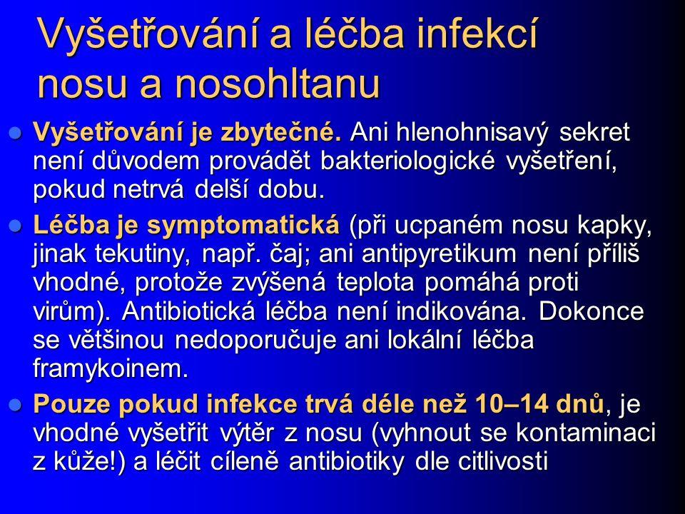 Záněty přínosních dutin (sinusitis acuta) Přechodný zánětlivý nález v dutinách je normální při klasické rýmě a není důvodem k léčbě (ani při rtg nálezu) Přechodný zánětlivý nález v dutinách je normální při klasické rýmě a není důvodem k léčbě (ani při rtg nálezu) Důvodem k léčbě je bolestivý zánět dutin, který se projevuje bolestí zubů, hlavy, horečkou a trvá aspoň týden, nebo je podrážděný trojklanný nerv (pak ani tak dlouho trvat nemusí Důvodem k léčbě je bolestivý zánět dutin, který se projevuje bolestí zubů, hlavy, horečkou a trvá aspoň týden, nebo je podrážděný trojklanný nerv (pak ani tak dlouho trvat nemusí Původcem bývá Streptococcus pneumoniae či Haemophilus influenzae Původcem bývá Streptococcus pneumoniae či Haemophilus influenzae
