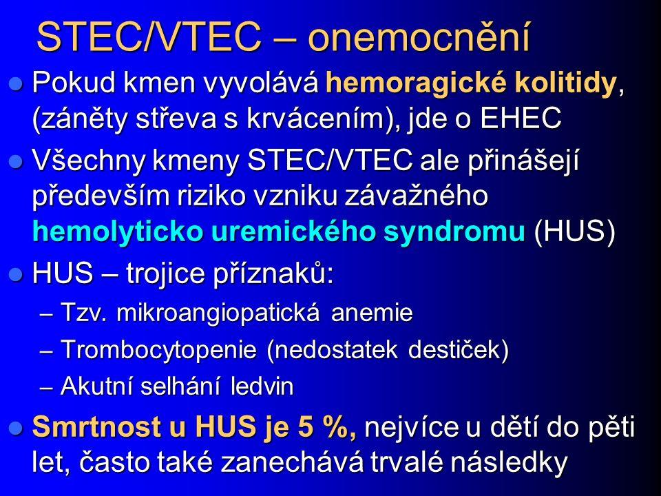 STEC/VTEC – onemocnění Pokud kmen vyvolává hemoragické kolitidy, (záněty střeva s krvácením), jde o EHEC Pokud kmen vyvolává hemoragické kolitidy, (záněty střeva s krvácením), jde o EHEC Všechny kmeny STEC/VTEC ale přinášejí především riziko vzniku závažného hemolyticko uremického syndromu (HUS) Všechny kmeny STEC/VTEC ale přinášejí především riziko vzniku závažného hemolyticko uremického syndromu (HUS) HUS – trojice příznaků: HUS – trojice příznaků: – Tzv.