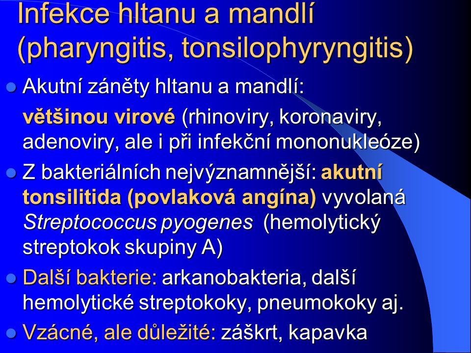 Infekce hltanu a mandlí (pharyngitis, tonsilophyryngitis) Akutní záněty hltanu a mandlí: Akutní záněty hltanu a mandlí: většinou virové (rhinoviry, ko