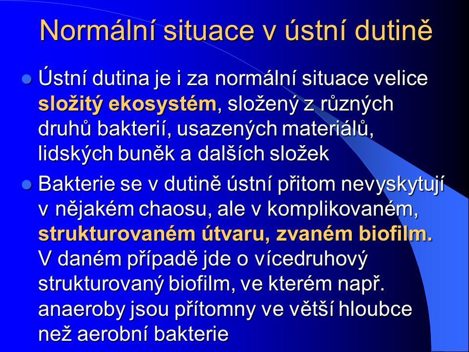 Normální situace v ústní dutině Ústní dutina je i za normální situace velice složitý ekosystém, složený z různých druhů bakterií, usazených materiálů,