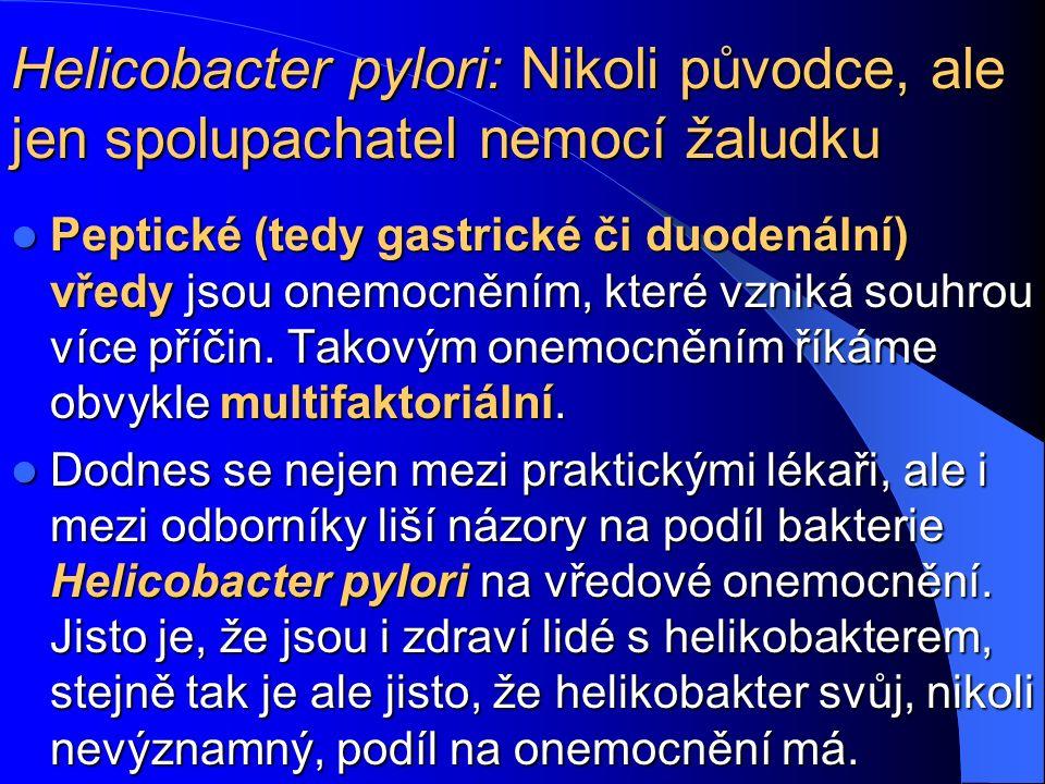 Helicobacter pylori: Nikoli původce, ale jen spolupachatel nemocí žaludku Peptické (tedy gastrické či duodenální) vředy jsou onemocněním, které vzniká