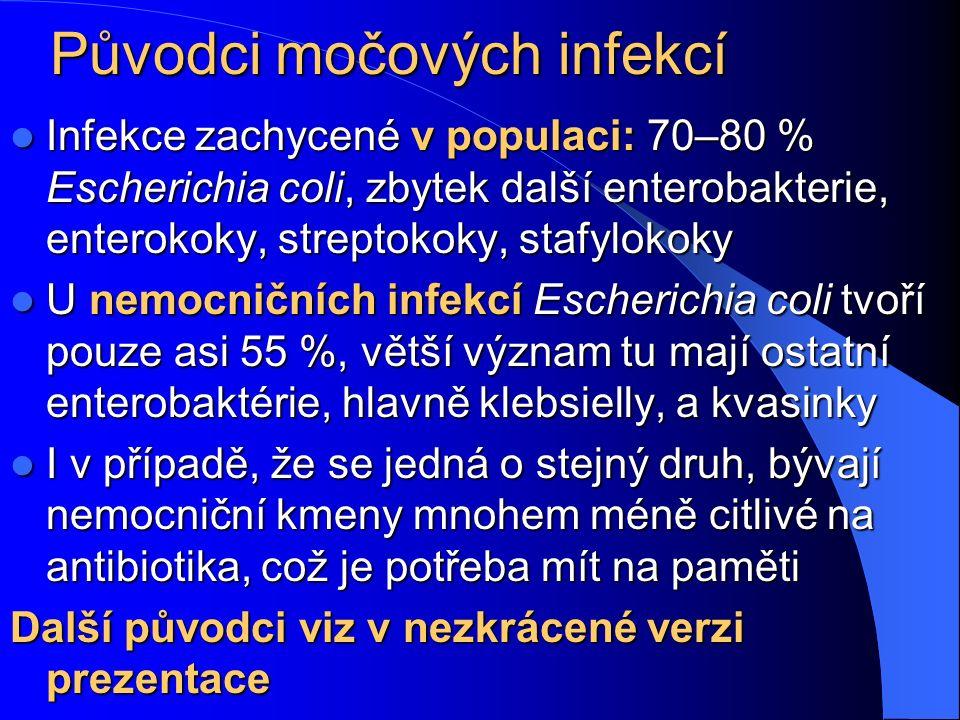 Původci močových infekcí Infekce zachycené v populaci: 70–80 % Escherichia coli, zbytek další enterobakterie, enterokoky, streptokoky, stafylokoky Inf