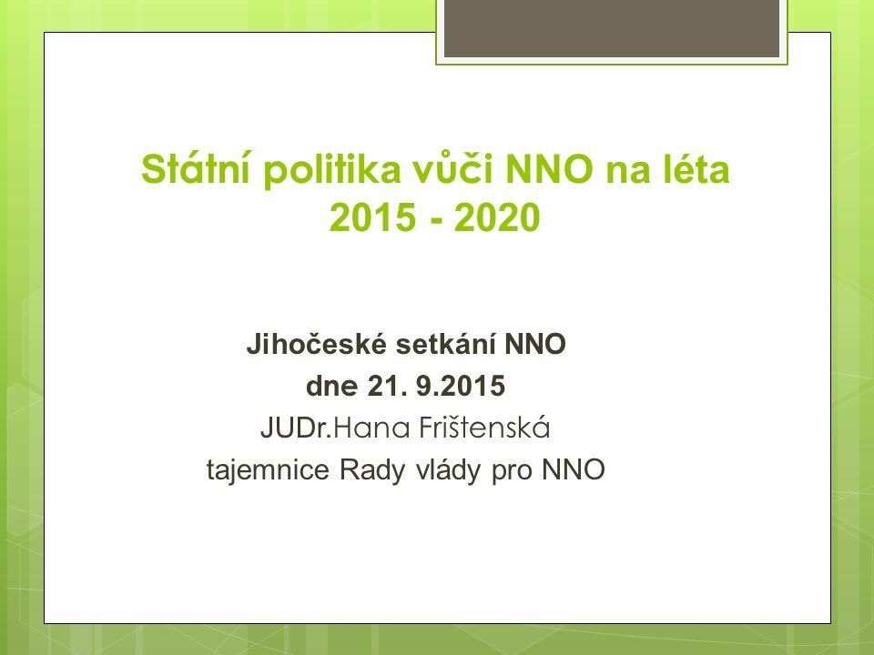 S tátní politik a vůči NNO na léta 2015 - 2020 Jihočeské setkání NNO d ne 21.