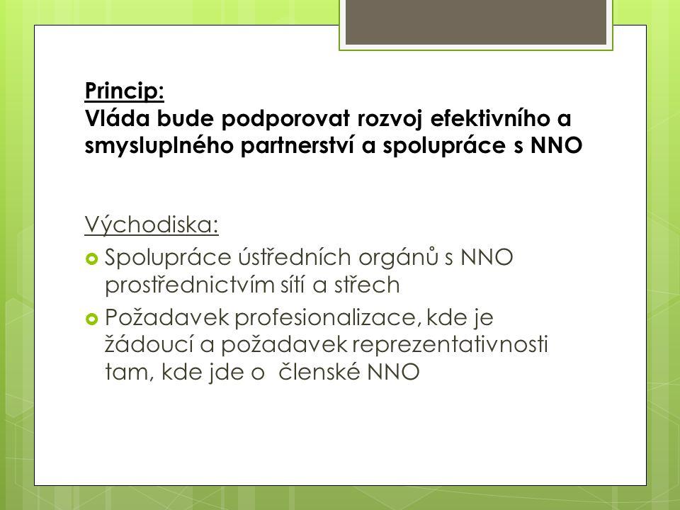 Princip: Vláda bude podporovat rozvoj efektivního a smysluplného partnerství a spolupráce s NNO Východiska:  Spolupráce ústředních orgánů s NNO prostřednictvím sítí a střech  Požadavek profesionalizace, kde je žádoucí a požadavek reprezentativnosti tam, kde jde o členské NNO