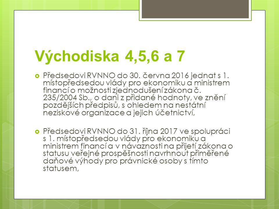 Východiska 4,5,6 a 7  Předsedovi RVNNO do 30. června 2016 jednat s 1. místopředsedou vlády pro ekonomiku a ministrem financí o možnosti zjednodušení