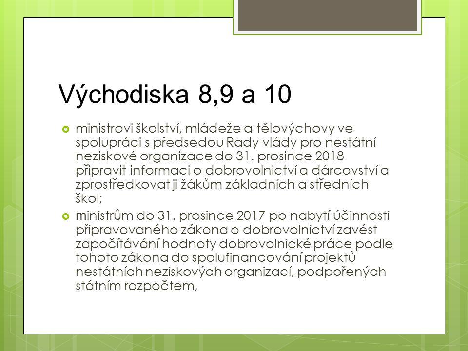 Východiska 8,9 a 10  ministrovi školství, mládeže a tělovýchovy ve spolupráci s předsedou Rady vlády pro nestátní neziskové organizace do 31. prosinc
