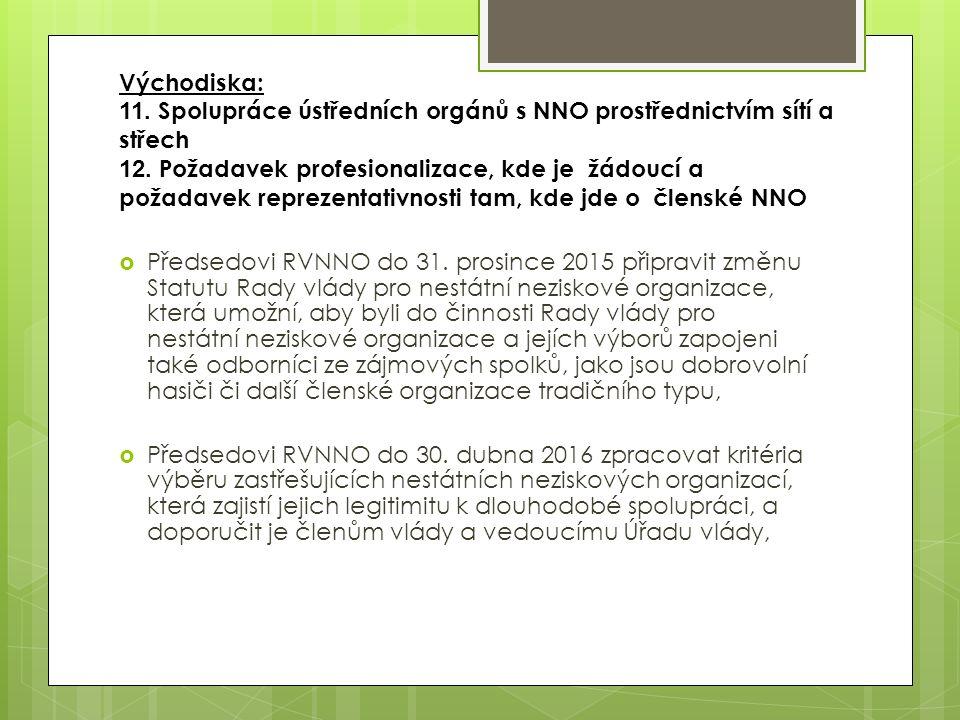 Východiska: 11. Spolupráce ústředních orgánů s NNO prostřednictvím sítí a střech 12. Požadavek profesionalizace, kde je žádoucí a požadavek reprezenta