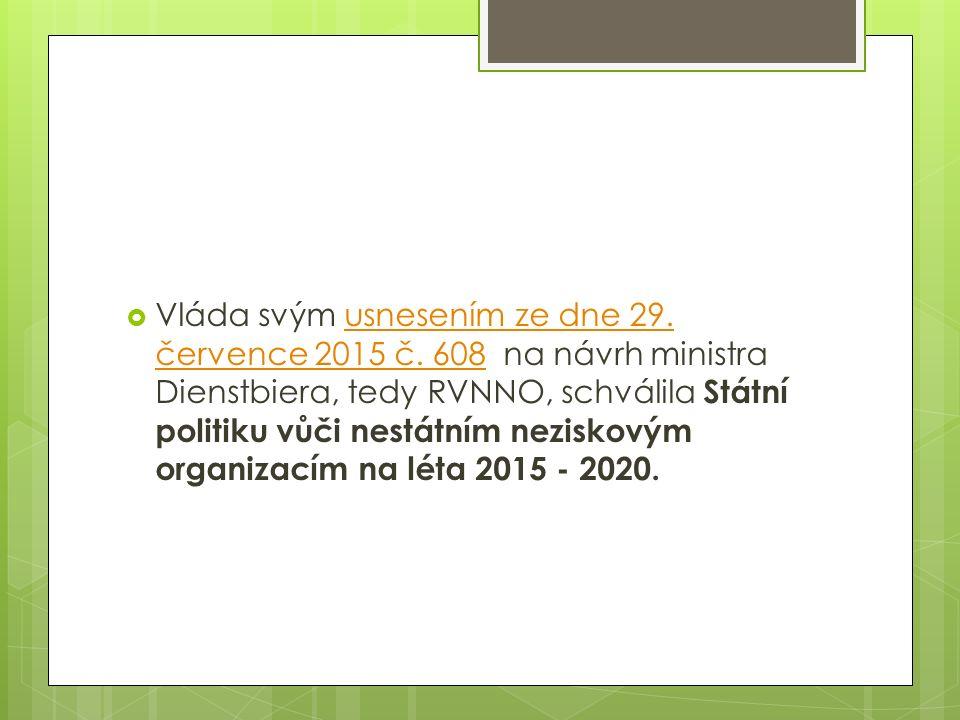  Vláda svým usnesením ze dne 29. července 2015 č. 608 na návrh ministra Dienstbiera, tedy RVNNO, schválila Státní politiku vůči nestátním neziskovým