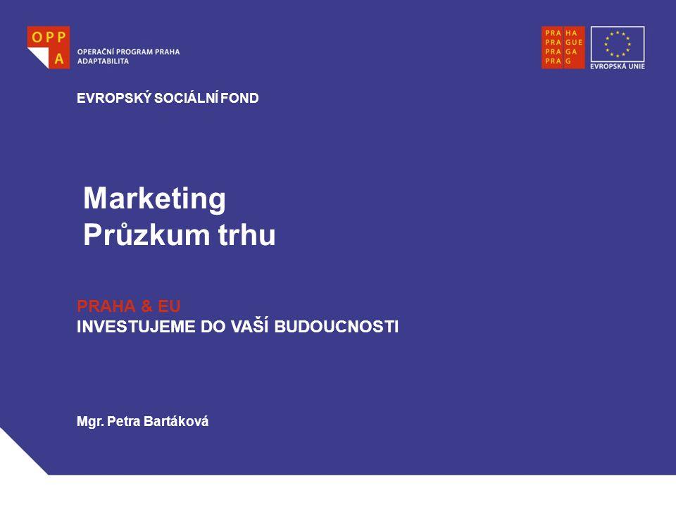 Marketing Průzkum trhu EVROPSKÝ SOCIÁLNÍ FOND PRAHA & EU INVESTUJEME DO VAŠÍ BUDOUCNOSTI Mgr.