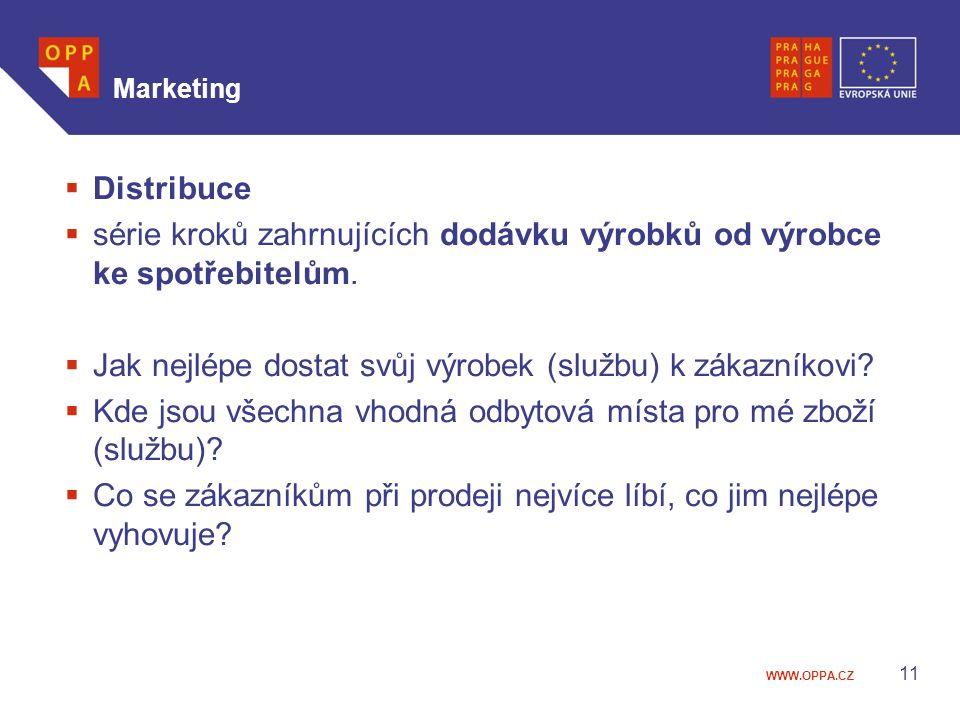 WWW.OPPA.CZ Marketing  Distribuce  série kroků zahrnujících dodávku výrobků od výrobce ke spotřebitelům.