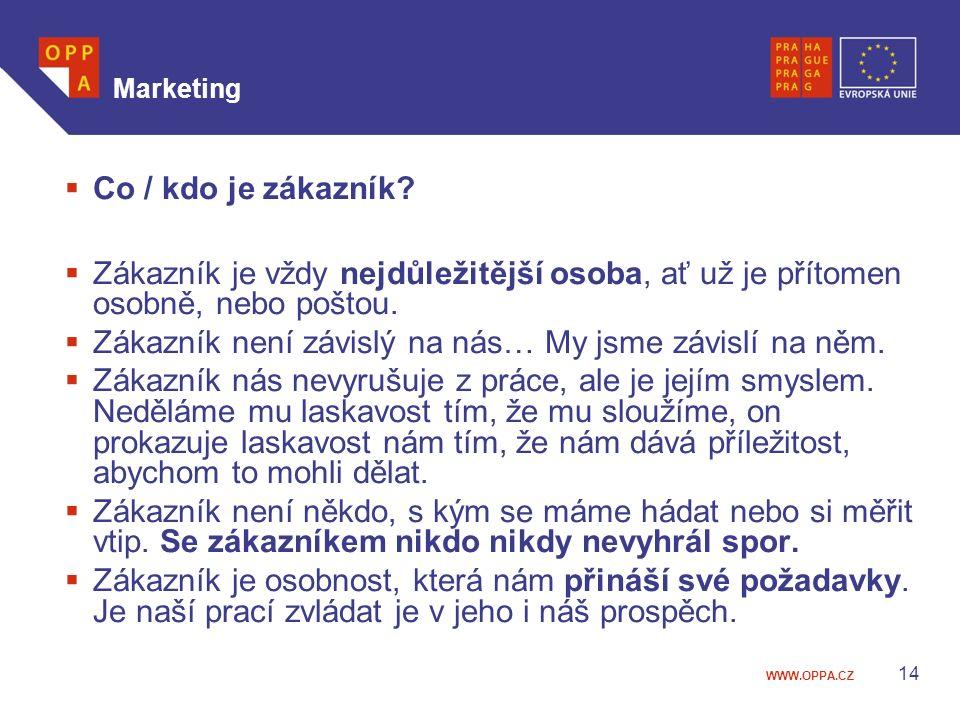 WWW.OPPA.CZ Marketing  Co / kdo je zákazník.