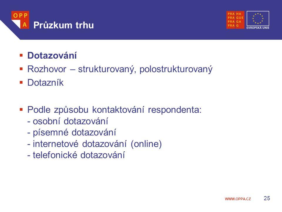 WWW.OPPA.CZ Průzkum trhu  Dotazování  Rozhovor – strukturovaný, polostrukturovaný  Dotazník  Podle způsobu kontaktování respondenta: - osobní dotazování - písemné dotazování - internetové dotazování (online) - telefonické dotazování 25