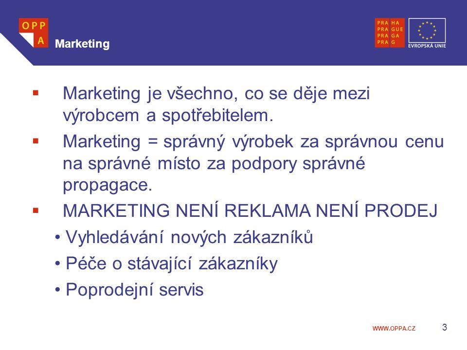 WWW.OPPA.CZ 3 Marketing  Marketing je všechno, co se děje mezi výrobcem a spotřebitelem.