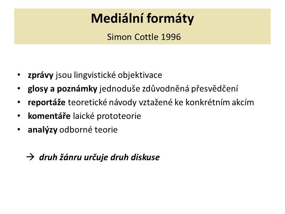 Mediální formáty Simon Cottle 1996 zprávy jsou lingvistické objektivace glosy a poznámky jednoduše zdůvodněná přesvědčení reportáže teoretické návody vztažené ke konkrétním akcím komentáře laické prototeorie analýzy odborné teorie  druh žánru určuje druh diskuse
