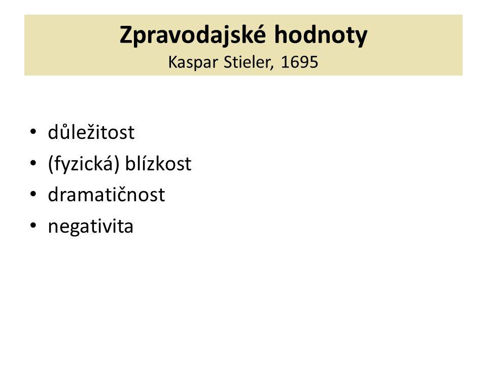 Zpravodajské hodnoty Kaspar Stieler, 1695 důležitost (fyzická) blízkost dramatičnost negativita