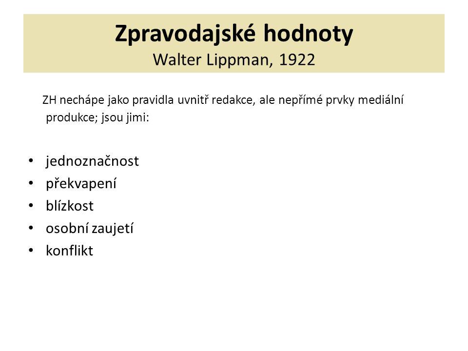 Zpravodajské hodnoty Walter Lippman, 1922 ZH nechápe jako pravidla uvnitř redakce, ale nepřímé prvky mediální produkce; jsou jimi: jednoznačnost překvapení blízkost osobní zaujetí konflikt