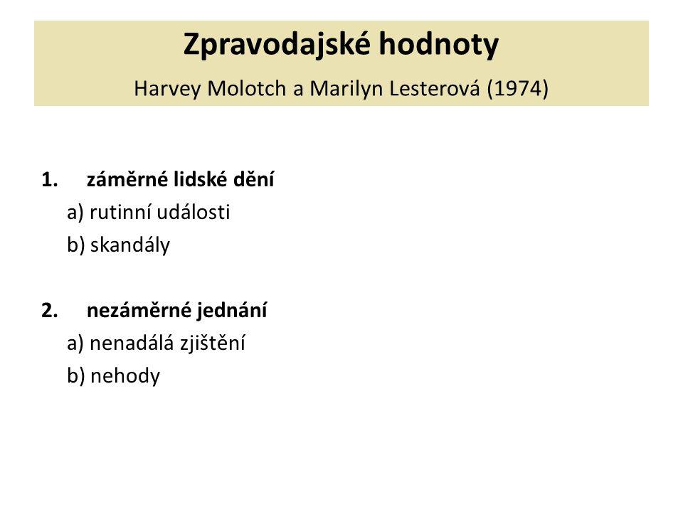 Zpravodajské hodnoty Harvey Molotch a Marilyn Lesterová (1974) 1.záměrné lidské dění a) rutinní události b) skandály 2.nezáměrné jednání a) nenadálá zjištění b) nehody
