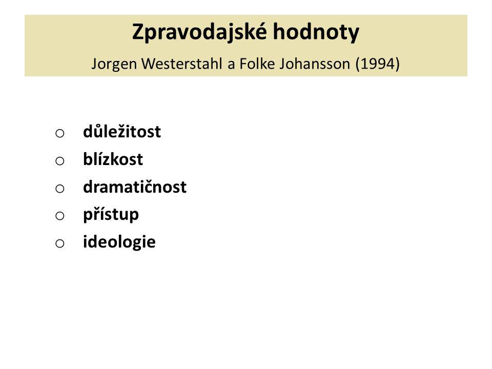 Zpravodajské hodnoty Jorgen Westerstahl a Folke Johansson (1994) o důležitost o blízkost o dramatičnost o přístup o ideologie