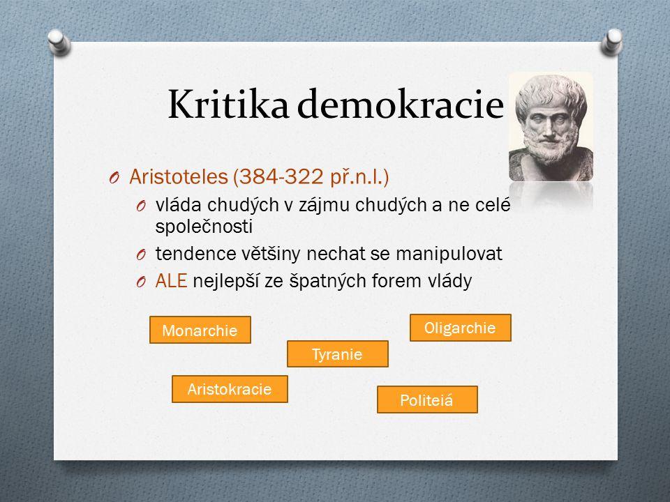 Kritika demokracie O Aristoteles (384-322 př.n.l.) O vláda chudých v zájmu chudých a ne celé společnosti O tendence většiny nechat se manipulovat O AL