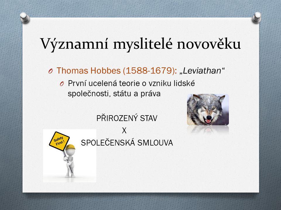 """Významní myslitelé novověku O Thomas Hobbes (1588-1679): """"Leviathan"""" O První ucelená teorie o vzniku lidské společnosti, státu a práva PŘIROZENÝ STAV"""