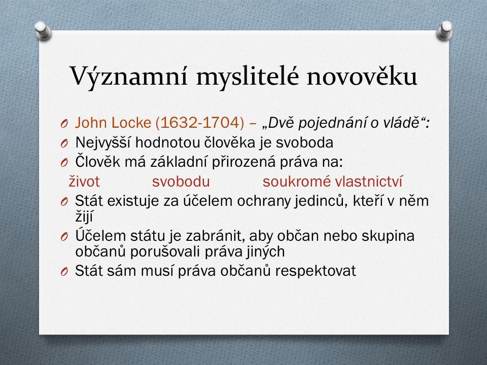 John Locke O Vláda vládne pouze se souhlasem lidu a za jasně stanovených podmínek O Konsensus: občané mají právo se vzbouřit O Dělba moci O Občané volí své zástupce O Volební právo (omezené majetkem)
