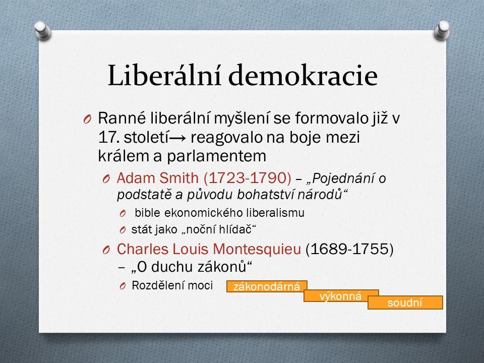 Liberální demokracie O Ranné liberální myšlení se formovalo již v 17. století→ reagovalo na boje mezi králem a parlamentem O Adam Smith (1723-1790) –