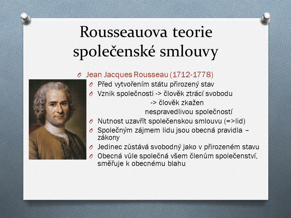 Rousseauova teorie společenské smlouvy O Jean Jacques Rousseau (1712-1778) O Před vytvořením státu přirozený stav O Vznik společnosti -> člověk ztrácí