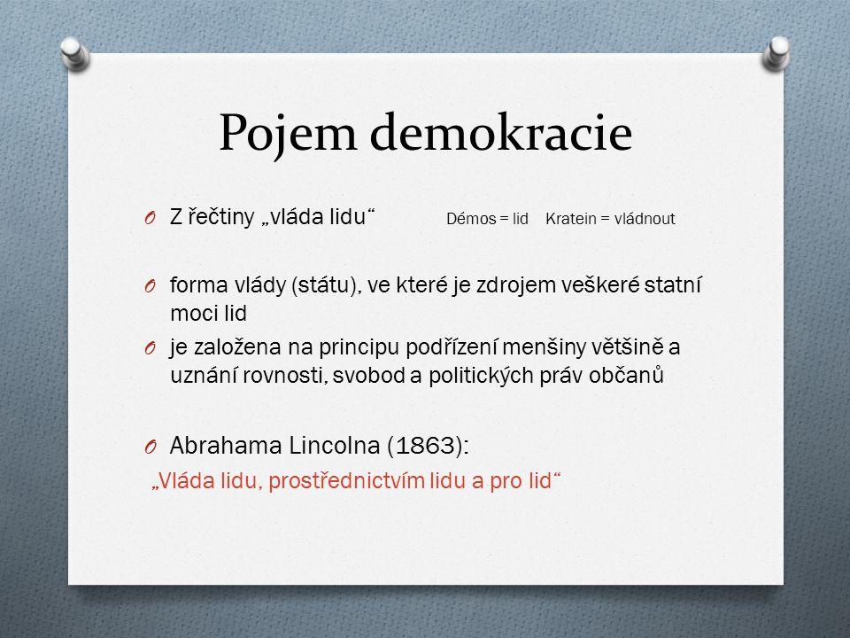 """Pojem demokracie O Z řečtiny """"vláda lidu"""" Démos = lid Kratein = vládnout O forma vlády (státu), ve které je zdrojem veškeré statní moci lid O je založ"""