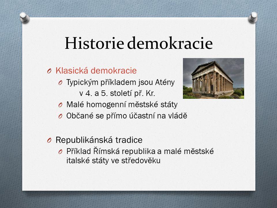 Historie demokracie O Klasická demokracie O Typickým příkladem jsou Atény v 4. a 5. století př. Kr. O Malé homogenní městské státy O Občané se přímo ú