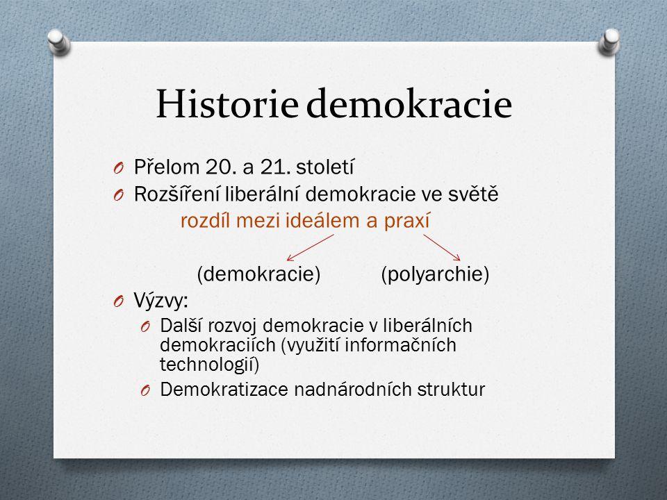 Klasická demokracie O Její atributy: 1.Politická rovnoprávnost 2.