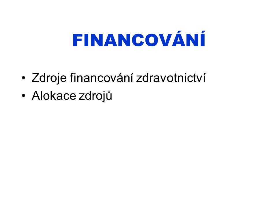FINANCOVÁNÍ Zdroje financování zdravotnictví Alokace zdrojů