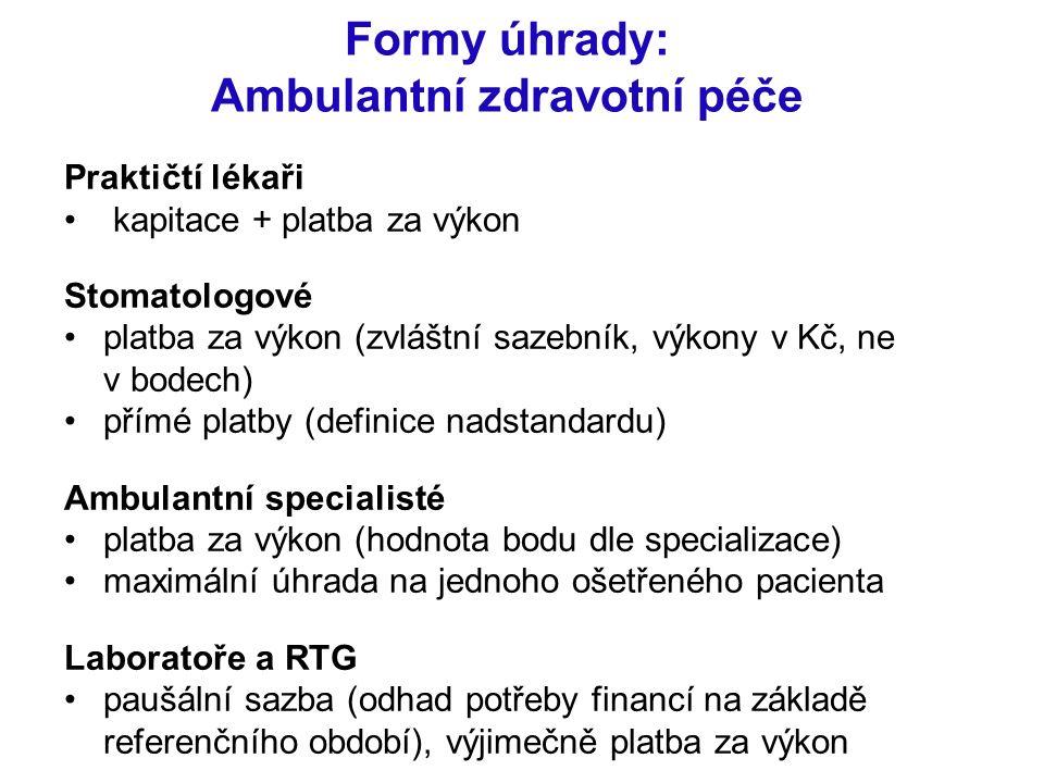 Formy úhrady: Ambulantní zdravotní péče Praktičtí lékaři kapitace + platba za výkon Stomatologové platba za výkon (zvláštní sazebník, výkony v Kč, ne
