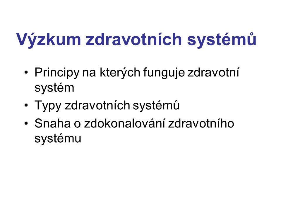 Výzkum zdravotních systémů Principy na kterých funguje zdravotní systém Typy zdravotních systémů Snaha o zdokonalování zdravotního systému