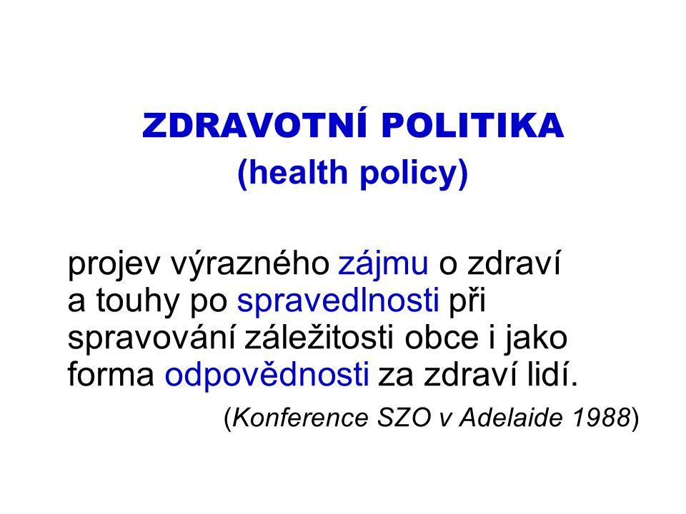 ZDRAVOTNÍ POLITIKA (health policy) projev výrazného zájmu o zdraví a touhy po spravedlnosti při spravování záležitosti obce i jako forma odpovědnosti